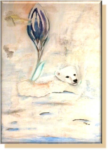 "Silke Laib, ""Eisbär"" 2009, auf Leinwand, Acryl und Sand"
