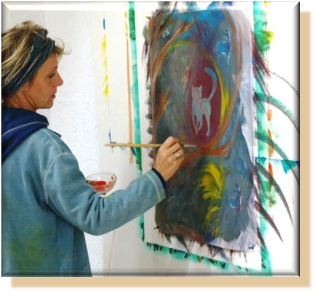 die katze 2011 (Silke Laib in ihrem Atelier am Pfeifferhof)