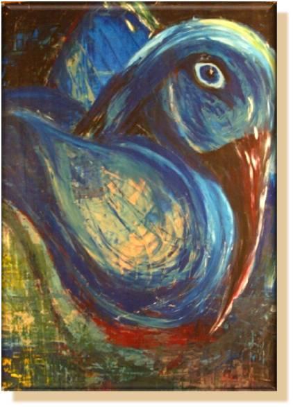 ups, ein Vogel !  (Silke Laib - entstanden beim Seminar mit Laurence Fotheringham 2007)
